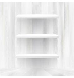 Layers Blank white wooden bookshelf EPS10 vector image