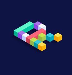 Letter r isometric colorful cubes 3d design vector