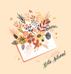 Lovely autumn card with a bouqet flowers leaves vector