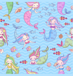 mermaid seamless pattern cute little mermaids and vector image