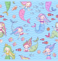 Mermaid seamless pattern cute little mermaids and vector