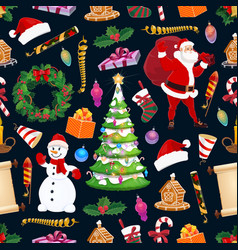 merry christmas seamless pattern winter holiday vector image