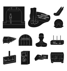 metro subway black icons in set collection for vector image