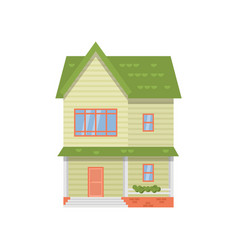 modern two-story house with green roof isolated on vector image