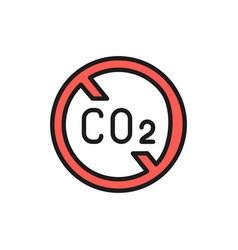 no carbon emissions co2 emissions sign flat color vector image
