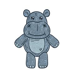 Outlined a textured cartoon hippopotamus vector