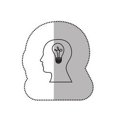 Person with brain bulb icon vector