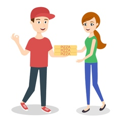 Pizza delivery boy handing three pizza boxes to a vector