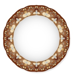 Plate with brown ornament vector