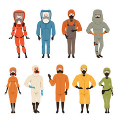 Protective suits set different protective uniform vector