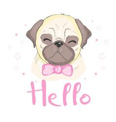 pug dog cartoon cute friendly fat chubby fawn vector image