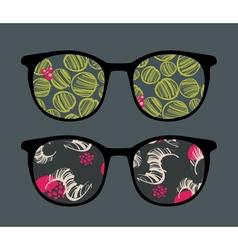 Retro sunglasses with interesting reflection vector