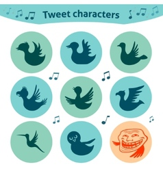 Round internet icons of tweet birds social media vector image