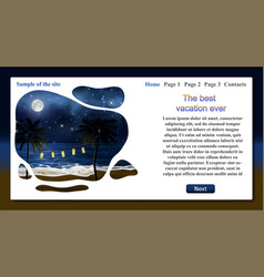 sample travel website template with text vector image