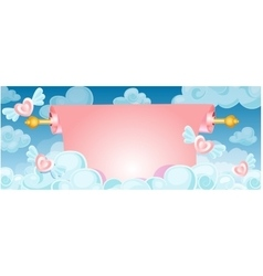 scroll banner in the clouds vector image