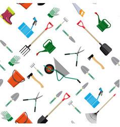 seamless gardening tools pattern vector image