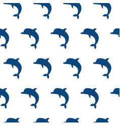Seamless pattern with cute jumping dolphins vector
