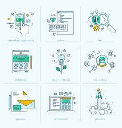 Set flat line icons for web development vector