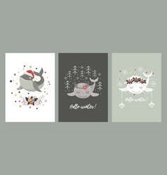 Set isolated christmas cards with bawhale vector