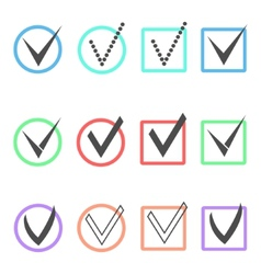 set of different ticks in colored boxes and vector image