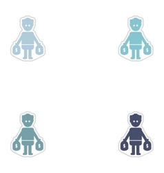 Set of paper stickers on white background man bags vector image
