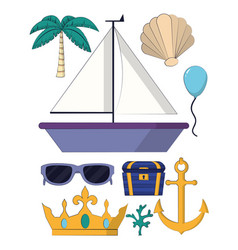 Set of sea and marine elements vector