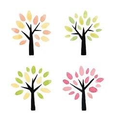 set watercolor trees vector image
