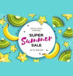 Slice of kiwi and carambola banana super summer vector