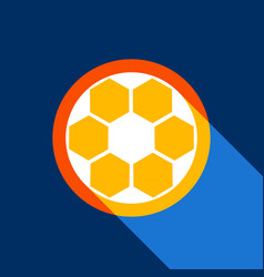 soccer ball sign white icon on tangelo vector image