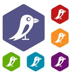social network bird icons set vector image