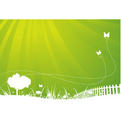 spring and summer butterflies garden background vector image