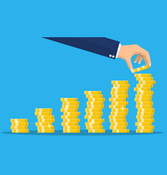 stack gold coins and hand vector image