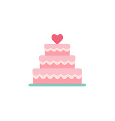 stacked wedding cake dessert with heart vector image