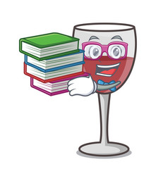 Student with book wine mascot cartoon style vector