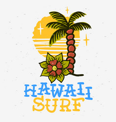 surfing surf themed hawaii hand drawn traditional vector image