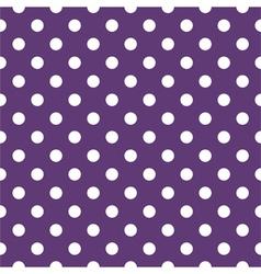 Tile pattern with white polka dots on dark violet vector image