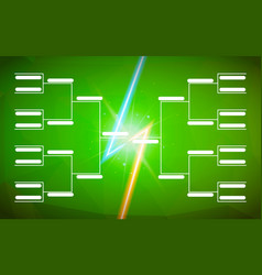 tournament bracket template for 16 teams on green vector image