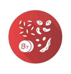 vitamin b7 red flat design long shadow glyph icon vector image