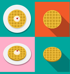 Waffle with ice cream on plate in flat style vector