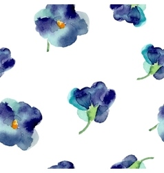 watercolor violet flowers seamless pattern vector image