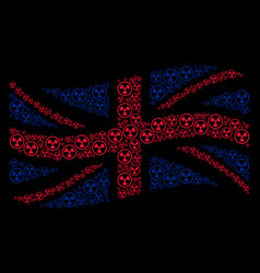 waving united kingdom flag collage of radioactive vector image