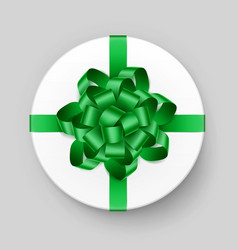white gift box with green bow top view vector image