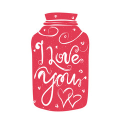 With pink jar hearts and lettering vector