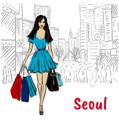 woman in seoul vector image