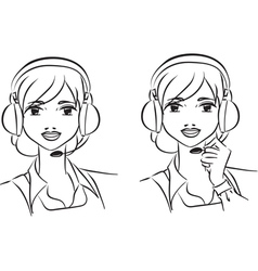 Woman operator vector image