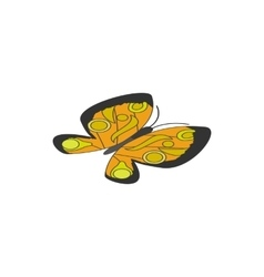 Yellow butterfly icon isometric 3d style vector image