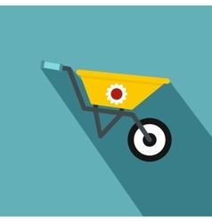 Yellow wheelbarrow icon flat style vector