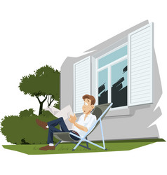 young man reading newspaper guy in deck chair vector image