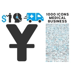 Yuan Icon with 1000 Medical Business Pictograms vector