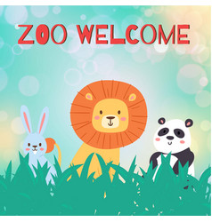 zoo animal welcome funny vector image